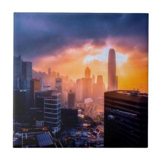 Carreau Horizon de coucher du soleil de Hong Kong