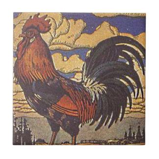 Carreau Illustration de peinture de poulet de coq de ferme