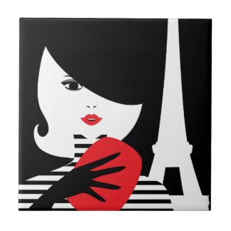 Carreau Illustration élégante française de mode de mode