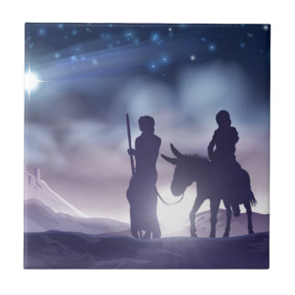 Carreau Illustration Mary et Joseph de Noël de nativité