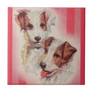 Carreau Illustration MIGNONNE de terriers de Jack Russell