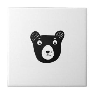 Carreau Illustration noire et blanche mignonne d'ours