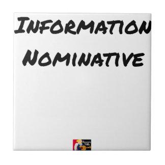 Carreau INFORMATION NOMINATIVE - Jeux de mots