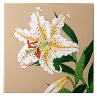 Carreau Japonais vintage Liliy. Blanc, vert et beige
