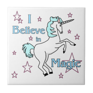 Carreau Je crois dans la tuile magique de licorne