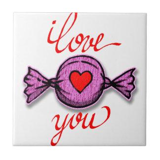 Carreau Je t'aime (sucrerie rose)
