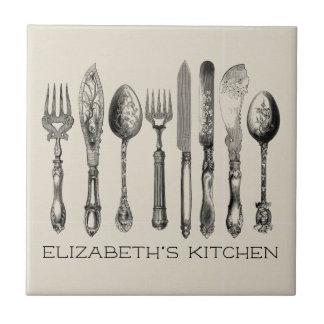 Carreau Jolie vaisselle plate vintage et nom