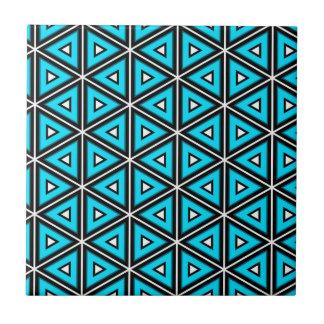 Carreau Jolis blanc, noir et motif carrés de turquoise