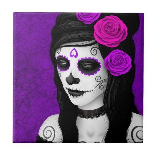 Carreau Jour de la fille morte avec les roses pourpres