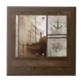 Carreau Joyeux anniversaire, bateaux grands, ancre,