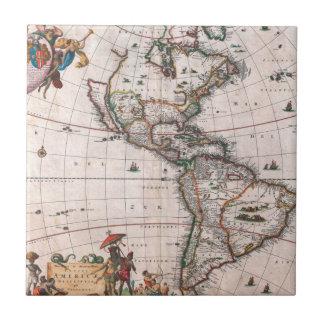 Carreau La carte de Visscher du nouveau monde