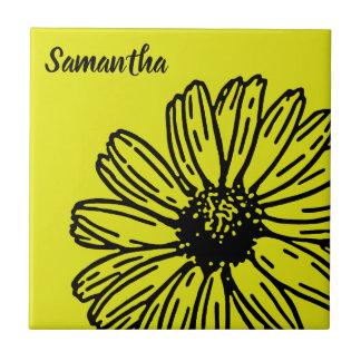 Carreau La marguerite lumineuse simple jaune d'amusement