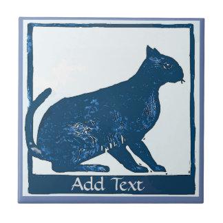 Carreau La tuile de chat bleu, ajoutent le texte