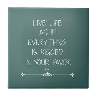 Carreau La vie vivante de citation inspirée de Rumi comme