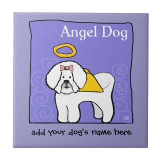 Carreau L'ange de chien de Bichon Frise personnalisent le
