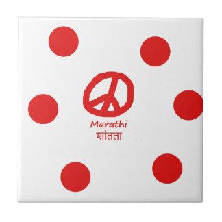 Carreau Langue de Marathi et conception de symbole de paix