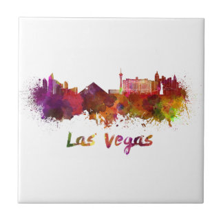 Carreau Las Vegas skyline in watercolor