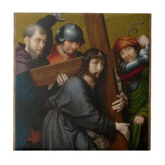 Carreau Le Christ portant la croix, avec la crucifixion