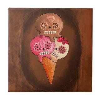 Carreau Le jour de la crème glacée morte de crânes de
