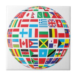 Carreau Le monde marque le globe