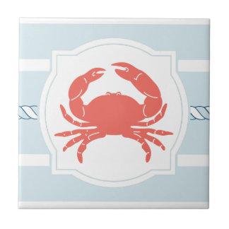 Carreau Le style nautique de crabe de corail barre le