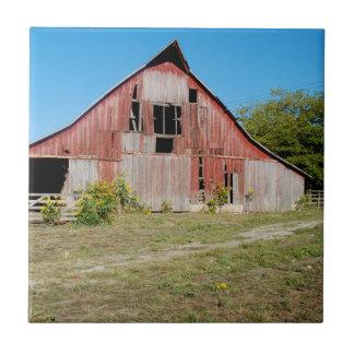 Carreau Les Etats-Unis, le Kansas, vieille grange rouge
