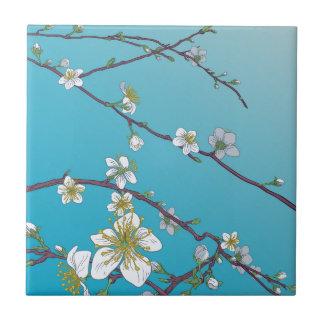 Carreau Les fleurs de cerisier de pêche fleurissent le