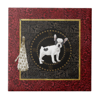 Carreau Les terriers de Jack Russell, forme ronde, signent