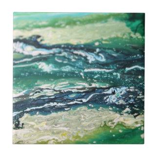 Carreau Lignes de peinture blanches d'abrégé sur turquoise