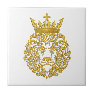 Carreau lion d'or dans la couronne - imitation de broderie