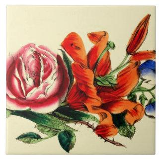 Carreau Lis floral vintage démodé d'aquarelle de |