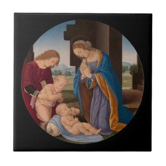 Carreau Madonna adorant l'enfant avec le saint infantile