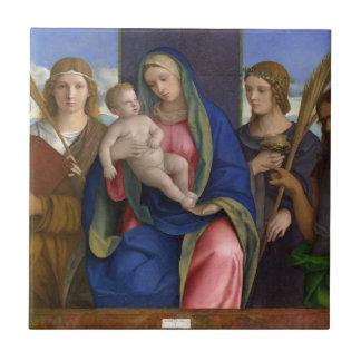 Carreau Madonna et enfant avec des saints