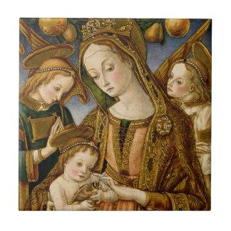 Carreau Madonna et enfant avec deux anges