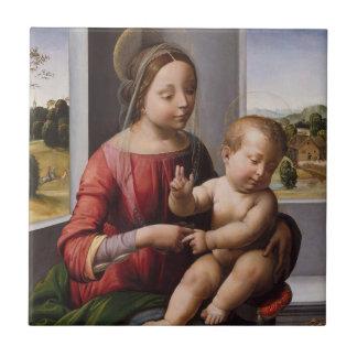 Carreau Madonna et enfant avec Jean-Baptist