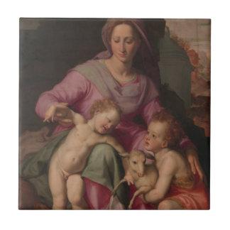 Carreau Madonna et enfant avec St John le baptiste