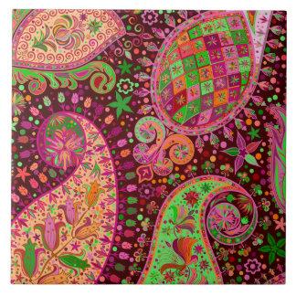 Carreau Main Boho coloré de paix de hippie rétro