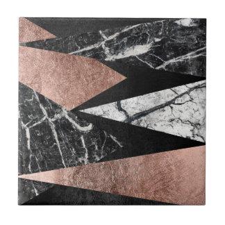 Carreau Marbre moderne élégant, or rose, et triangle noire