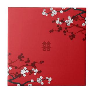 Carreau Mariage chinois de double bonheur de fleurs de