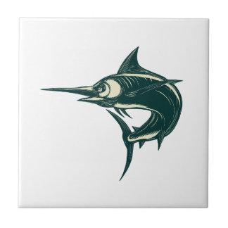 Carreau Marlin bleu atlantique Scraperboard