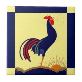 Carreau Matin Sun de corneille de coq d'art populaire de