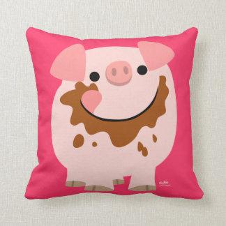 Carreau mignon de porc de bande dessinée de chocol oreillers