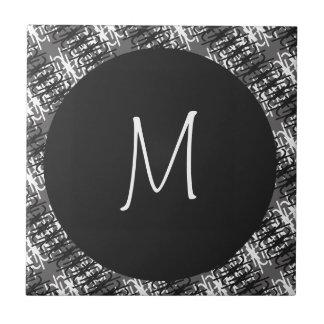 Carreau Monogramme blanc moderne sur le motif abstrait