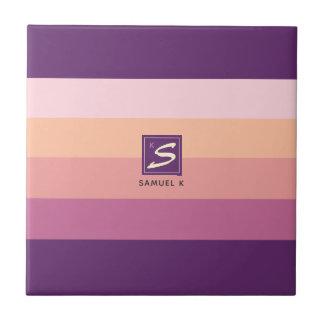 Carreau Monogramme de rayure de palette de couleurs de