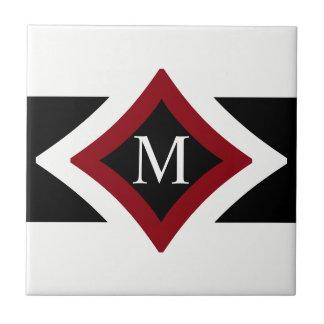 Carreau Monogramme en forme de diamant élégant de noir,