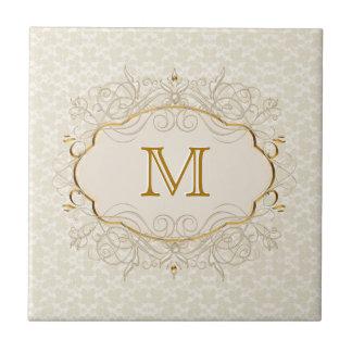 Carreau Monogramme en ivoire de perle et d'or