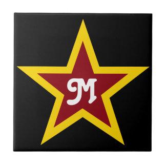 Carreau Monogramme fait sur commande simple d'étoile rouge