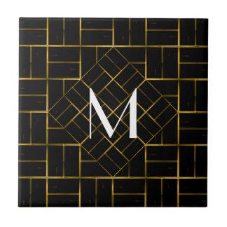 Carreau Monogramme géométrique élégant de motif d'art déco