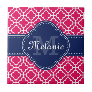 Carreau Monogramme marocain blanc rose de marine de motif