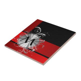 Carreau Monogramme rouge et argenté moderne